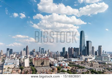 tianjin modern buildings against a sunny sky China
