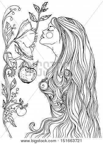 hand drawn ink doodle girls face and flowing hair on white background. design for adults, poster, print, t-shirt, invitation, banners, flyers. sketch. vector eps 8.