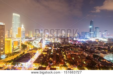 tianjin at night modern city ablaze with lights