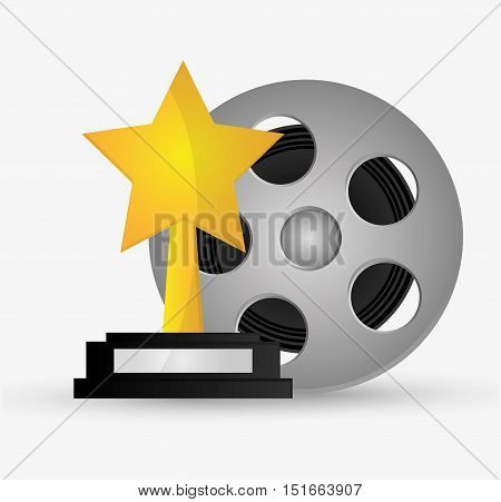 Film reel and star trophy icon. Cinema movie video film and entertainment theme. Colorful design. Vector illustration