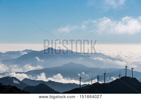 inland wind farm and clouds on the jiugong mountains hubei provinceChina