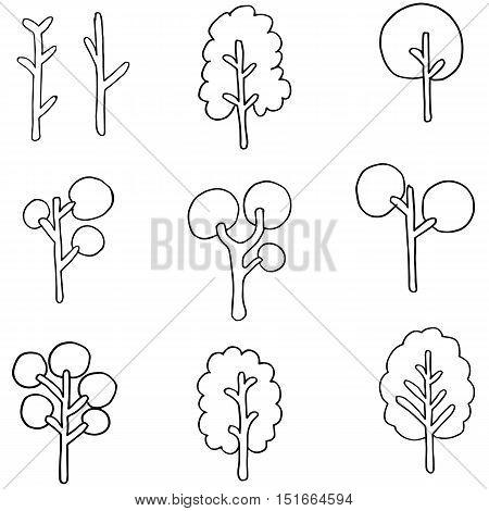 Vector flat of tree set doodles illustration