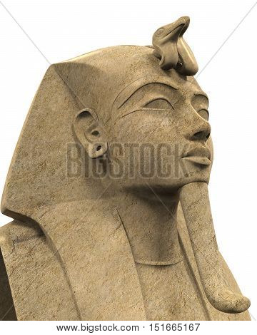 Stone Pharaoh Tutankhamen isolated on white background. 3D render
