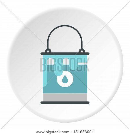 Bucket of blue paint icon. Flat illustration of bucket of blue paint vector icon for web