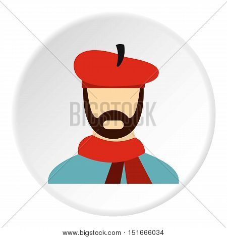 Painter in red hat icon. Flat illustration of painter in red hat vector icon for web