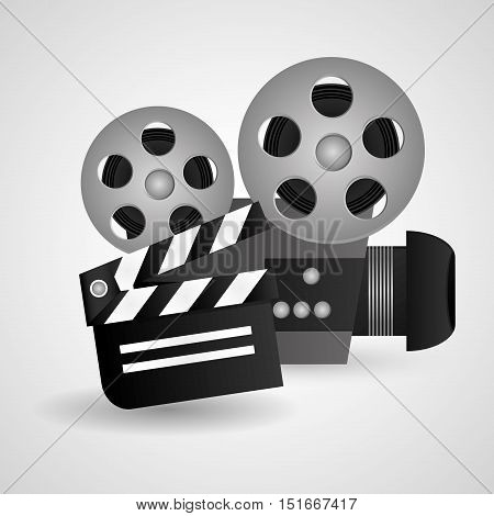 Videocamera and clapboard icon. Cinema movie video film and entertainment theme. Colorful design. Vector illustration