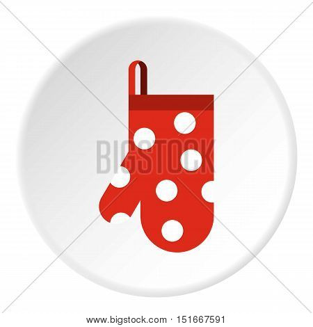 Red potholder with white polka dots icon. Flat illustration of red potholder with white polka dots vector icon for web