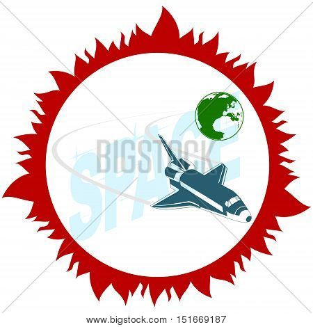 Space shuttle in outer space. The illustration on a white background.