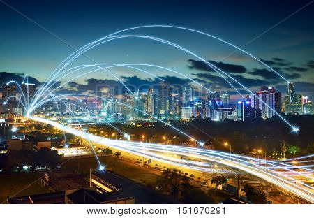 city scape and network connection concept .