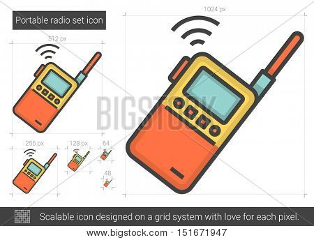 Portable radio set vector line icon isolated on white background. Portable radio set line icon for infographic, website or app. Scalable icon designed on a grid system.
