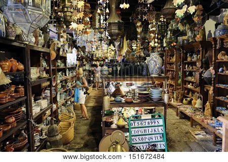 FUERTEVENTURA, SPAIN - SEPTEMBER 16, 2015: The interior of the souvenir shop in Betancuria. Fuerteventura Canary Island Spain