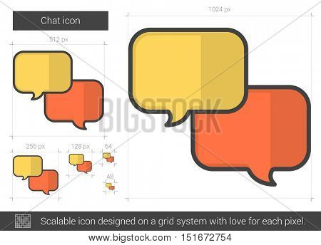 Chat vector line icon isolated on white background. Chat line icon for infographic, website or app. Scalable icon designed on a grid system.