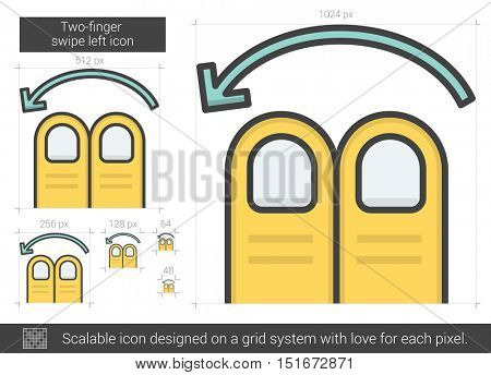 Two-finger swipe left vector line icon isolated on white background. Two-finger swipe left line icon for infographic, website or app. Scalable icon designed on a grid system.