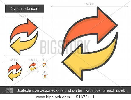 Synch data vector line icon isolated on white background. Synch data line icon for infographic, website or app. Scalable icon designed on a grid system.