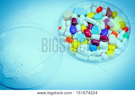 Variety Of Colorful Medication In Plate. Use For Background.