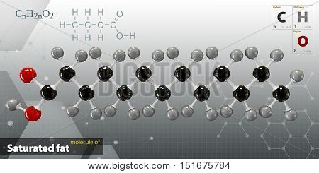 Illustration Of Saturated Fat Molecule Isolated Gray Background
