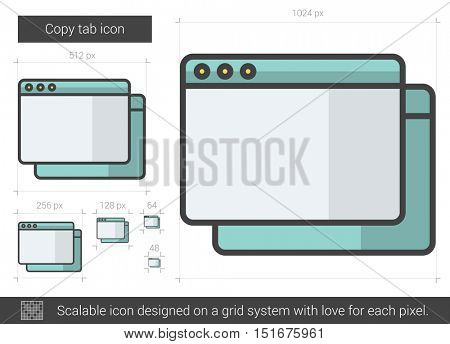 Copy tab vector line icon isolated on white background. Copy tab line icon for infographic, website or app. Scalable icon designed on a grid system.
