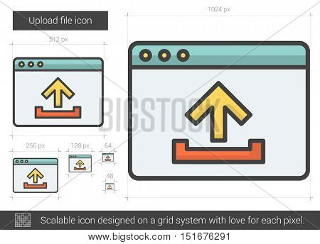 Upload file vector line icon isolated on white background. Upload file line icon for infographic, website or app. Scalable icon designed on a grid system.