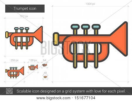 Trumpet vector line icon isolated on white background. Trumpet line icon for infographic, website or app. Scalable icon designed on a grid system.