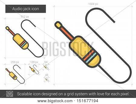 Audio jack vector line icon isolated on white background. Audio jack line icon for infographic, website or app. Scalable icon designed on a grid system.