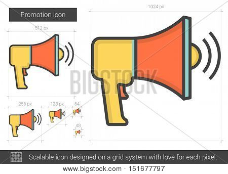 Promotion vector line icon isolated on white background. Promotion line icon for infographic, website or app. Scalable icon designed on a grid system.