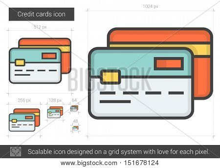 Credit cards vector line icon isolated on white background. Credit cards line icon for infographic, website or app. Scalable icon designed on a grid system.