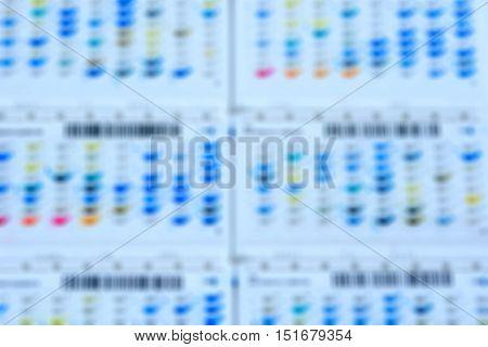 Blured Reagent Strip For Biochem And Drug Sensitivity Test For Background.