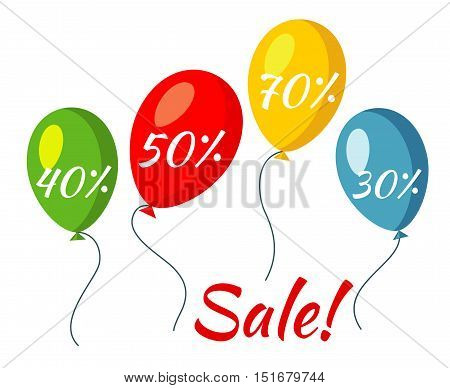 Sale colorful baloons vector illustration. Discount and promotion for retail