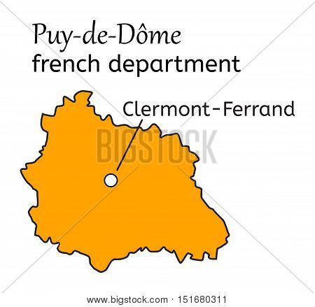 Puy-de-Dome french department map on white in vector