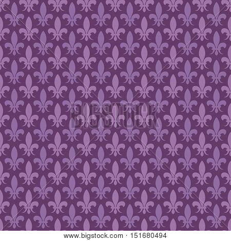 Purple vector fleur de lis seamless pattern. Baroque background in violet color illustration