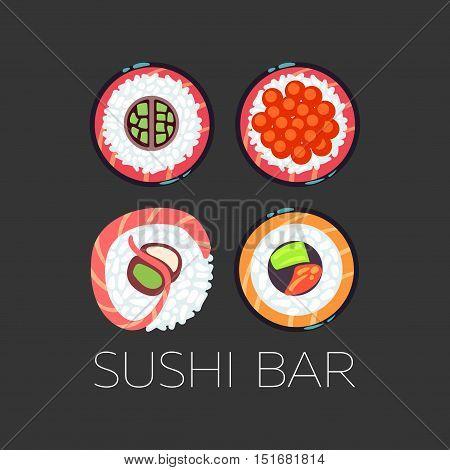 Black sushi bar food logo vector template. Set of emblem for restaurant illustration