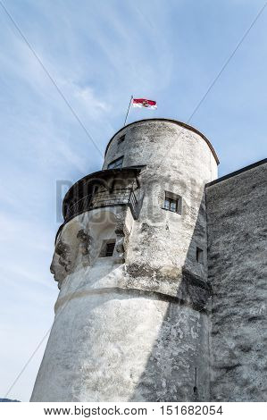 Salzburg Austria - April 29 2015: Hohensalzburg Castle. Salzburg is renowned for its baroque architecture and was the birthplace of Mozart. It is an Unesco World Heritage Site.