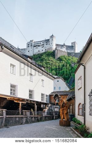 Salzburg Austria - April 29 2015: Square in city centre. Salzburg is renowned for its baroque architecture and was the birthplace of Mozart. It is an Unesco World Heritage Site.