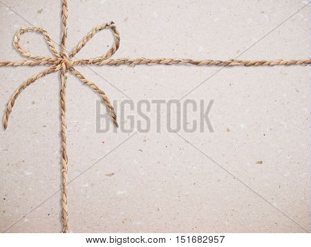 Close up recycled paper with bow for textured and background