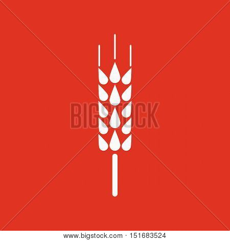 The spica icon. Wheat symbol. Flat Vector illustration. Button Set