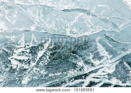 The Pattern Of Cracks On The Blue Ice Of Lake Baikal