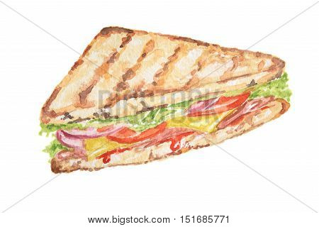 Isolated watercolor sandwich on white background. Tasty and nutricious snack with vegetables and ham. Lunch time.