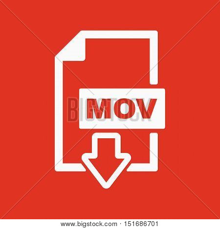 The MOV icon. Video file format symbol. Flat Vector illustration
