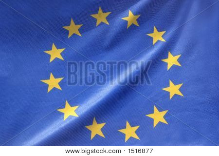 details ov waving European flag in closeup poster