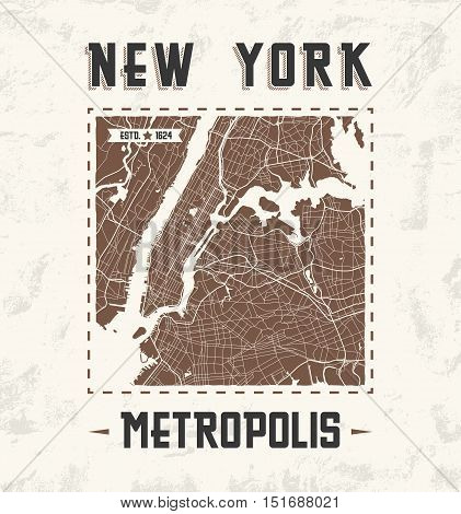 New York Vintage T-shirt Graphic Design With City Map. Tee Shirt Print, Typography, Label, Badge, Em