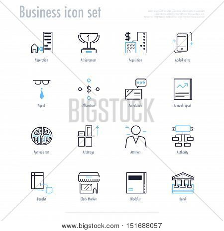 Business icon set. business symbol set. vector illustration.