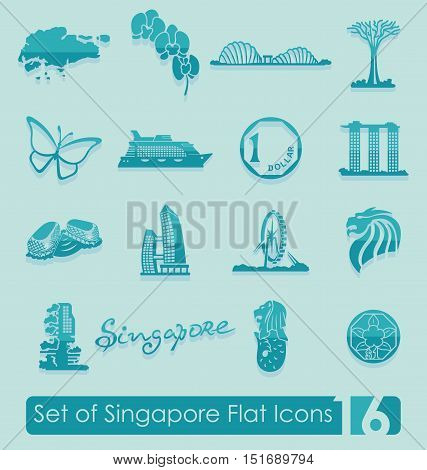 Set of Singapore flat icons for Web and Mobile Applications