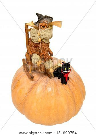 toys witch and black cat on pumpkin