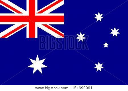 Flag of Australia is an Oceanian country comprising the mainland of the Australian continent, the island of Tasmania and numerous smaller islands. Vector