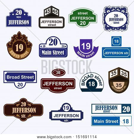 House numbers boards sign isolated. Stree and house numbers vector symbols. Street numbers vector illustration. Street sign isolated vector. House numbers iccons