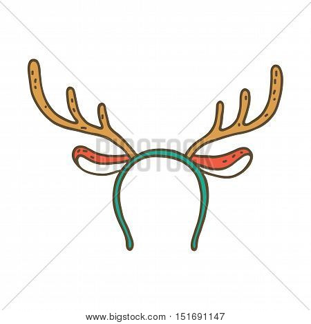 Funny mask with Christmas reindeer horns isolated on white background