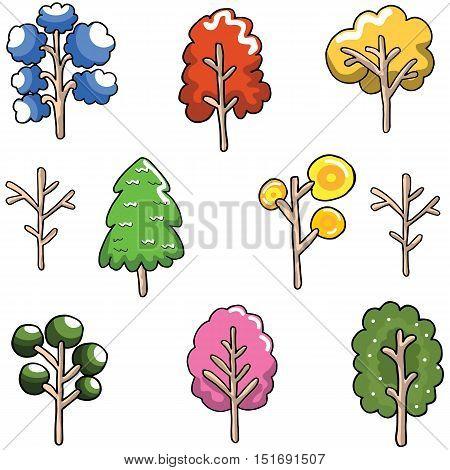 Doodle of Unique tree set collection vector illustration