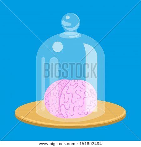Brain standart under glass cover. Colorful cartoon hand drawn vector illustration