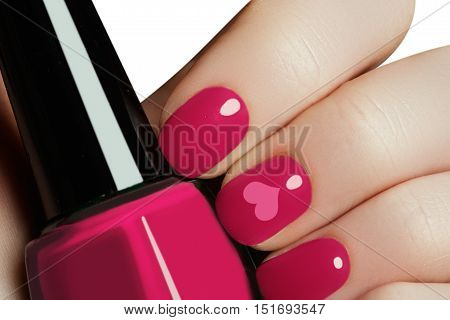 Valentine Nail Art Manicure. Valentines Day Holiday Style Bright