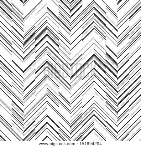 Seamless ZigZag Pattern. Abstract  Black and White Background. Vector Regular Zigzag Texture